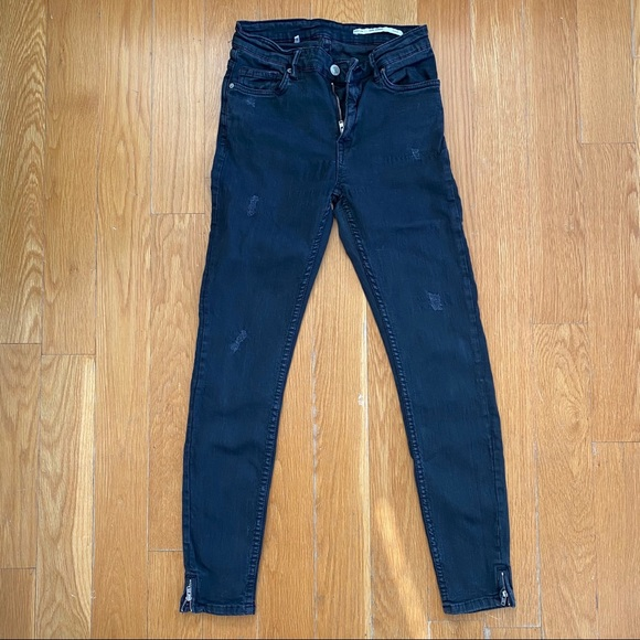 Zara Mid Rise Black Jeans Sz 2